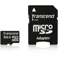 Transcend microSDHC Class 4, 8GB + SD-Adapter