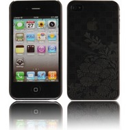 Twins Micro Flower für iPhone 4, schwarz-transparent