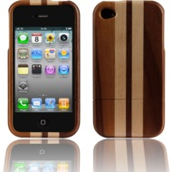 Twins Real Wood Stripes für iPhone 4/ 4S, dunkel