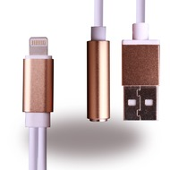 UreParts 2 in 1 Headset Anschluss + Ladekabel - Apple iPhone 7, 7 Plus - Gold