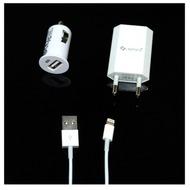 UreParts 3in1 Set, KFZ Lader + Netzteil + Lightning-Datenkabel