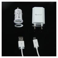 UreParts 3in1 Set - KFZ Lader + Netzteil + Datenkabel - Micro USB Adapterkabel