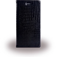 UreParts Kroko Leder Bookcover/ Bookcase/ Handy Hülle - Apple iPhone 6/ 6s - Schwarz