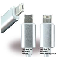 UreParts USB-Kabel - 1.00m - Micro-USB + Apple Lightning auf USB - Weiss