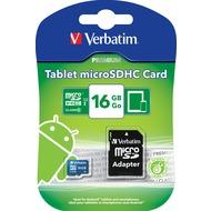 Verbatim Micro-SDHC-Card, 16GB, Class 10, mit Adapter, grün