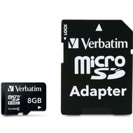 Verbatim Micro-SD Card  8GB Verbatim SDHC Class 4 mit Adapter