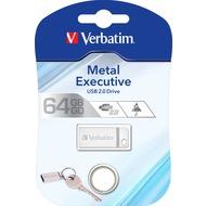 Verbatim USB 2.0 Stick 64GB - Metal Executive - Silber (R) 12MB/ s 80x - (W) 5MB/ s 33x