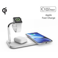 ZENS Aluminium Dual Wireless Charger + Apple Watch 10W, Qi, weiß, ZEDC05W/ 00