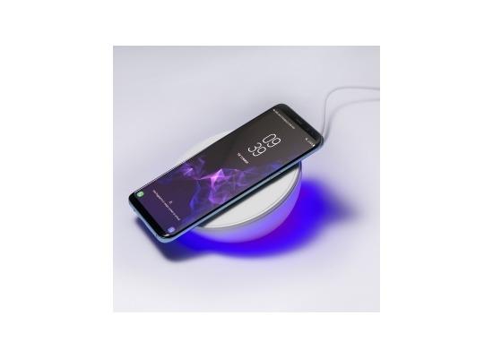 4smarts Induktive Schnellladestation VoltBeam N8 10W mit Uhr und Licht weiß