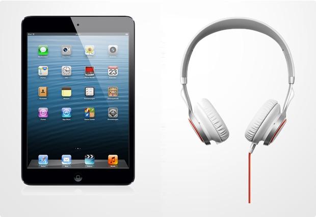 Apple iPad mini 16GB (LTE/UMTS), schwarz + Jabra Stereo Headset REVO, weiß