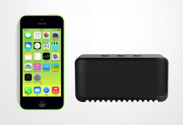 Apple iPhone 5C, 16GB, grün (Telekom) + Jabra Bluetooth Lautsprecher Solemate mini, schwarz