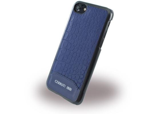 Cerruti 1881 Crocodile Print - Kunstleder Hardcase - Apple iPhone 7 / 8 - Navy Blau