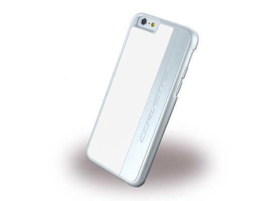 Corvette Silver Brushed Aluminium - Hard Cover für Apple iPhone 6/6S, weiß