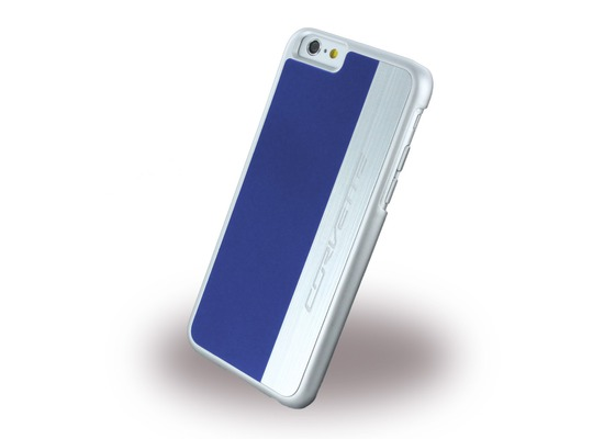 Corvette Silver Brushed Aluminium - Hard Cover für Apple iPhone 6 Plus/6S Plus, blau