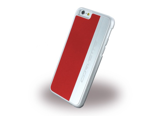Corvette Silver Brushed Aluminium - Hard Cover für Apple iPhone 6 Plus/6S Plus, rot