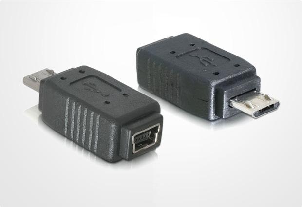 DeLock Adapter Micro-USB Stecker auf Mini-USB Buchse