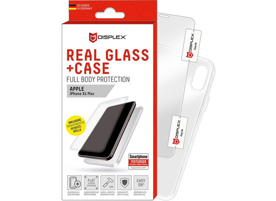 Displex Displex, Real Glass 0,33mm + Hülle, Apple iPhone 11 Pro Max / XS Max, Displayschutzglasfolie
