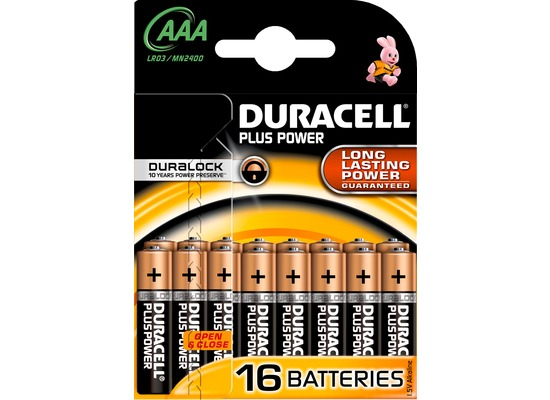 Duracell Batterie Alkaline - Micro - AAA - LR03 - 1.5V Plus Power - (16-Pack)