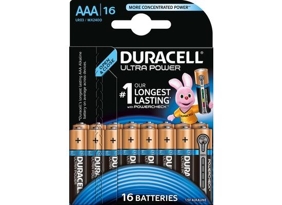 Duracell Batterie Alkaline - Micro - AAA - LR03 - 1.5V Ultra Power - Powercheck - (16-Pack)
