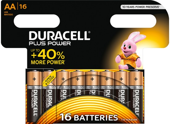 Duracell Batterie Alkaline - Mignon - AA - LR06 - 1.5V Plus Power - (16-Pack)