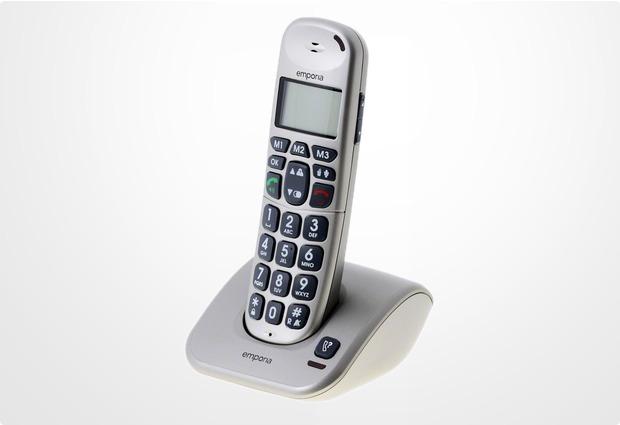 Emporia D40 DECT Großtastentelefon, silber-grau