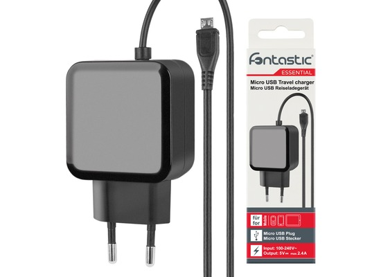 Fontastic Essential Essential Netzteil Micro-USB 2.4A schwarz 1.2 m