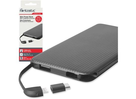Akkus, Powerbanks - Fontastic Power Bank 4in1 slim Kari 50 5000mAh sw integr. Micro USB 8 Pin Kabel Type C USB A  - Onlineshop Telefon.de