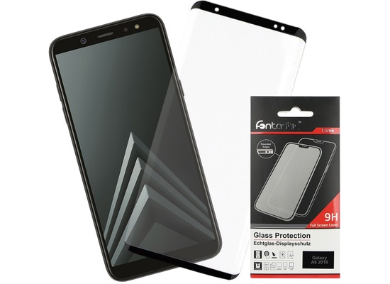 Fontastic Full Cover Schutzglas Schwarz komp. mit Samsung Galaxy A6 (2018)