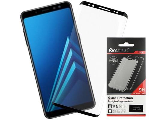 Fontastic Full Cover Schutzglas Schwarz komp. mit Samsung Galaxy A8+ (2018)