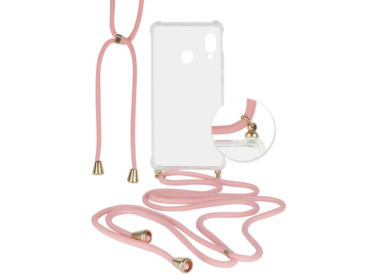 Fontastic Hybridcover Thea transparent mit Kordel pink komp. mit Samsung Galaxy A40