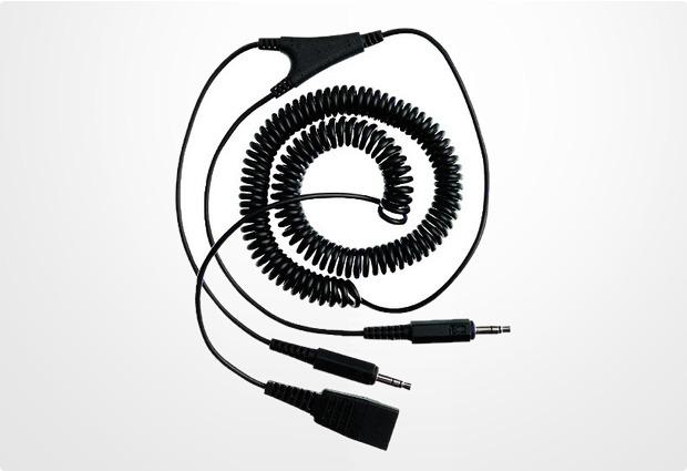 Jabra Headset-Anschlusskabel QD<>2 x 3,5mm Klinke PC, 0,5-2,0m Spiral