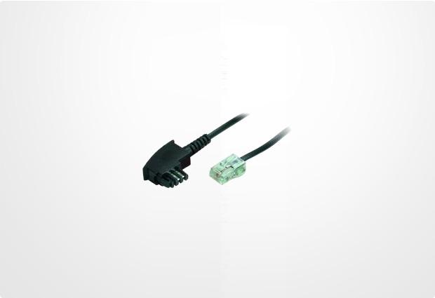 HDK Anschlußkabel TAE (F) -> RJ45, 2m schwarz (2-Polig)