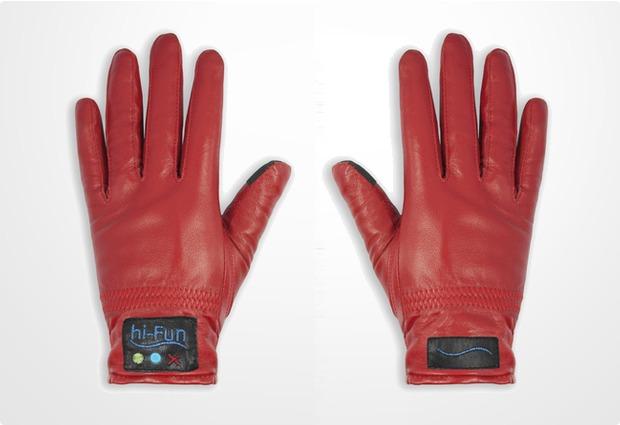 hi-Fun Bluetooth Leder-Handschuhe Hi-Call M, rot