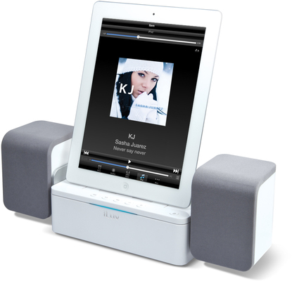 iLuv Stereo Lautsprecher Dockingstation f�r iPad / iPhone / iPod, wei�