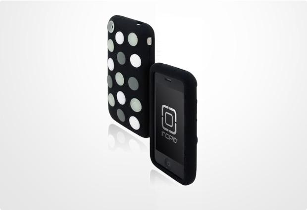 Incipio dotties für iPhone 3G, schwarz mit grau-weißen Punkten