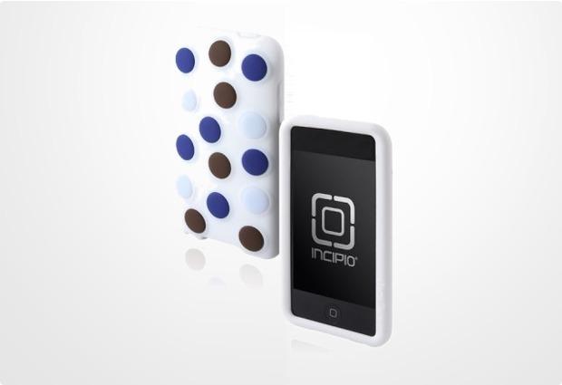 Incipio dotties für iPod touch 2G / 3G, weiß mit blau-schokobraunen Punkten