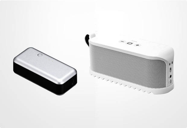 Jabra Aktion Bluetooth Lautsprecher Solemate, weiß + JustMobile Gum 2200 mAh, silber