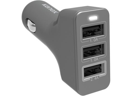 Kanex 3-port KFZ-Ladegerät USB - 4,4A - space gray