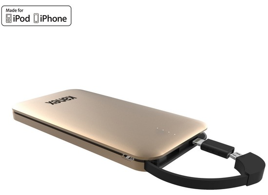 Kanex GoPower Power Bank - Micro-USB & Lightning - 8000mAh - gold