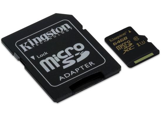 Speicherkarten, Speichermedien - Kingston microSD Card Gold Class 10 UHS 1 U3 m. Adapter 64GB fuer Acer Iconia One 10 (B3 A20B), Iconia Tab W501P, Predator 8 (GT 810), Alcatel onetouch IDOL 3 (47) 6039, IDOL 3 (55) 6045, IDOL 3 6039Y, IDOL 3 6045Y, IDOL 4 Pro 6077X, IDOL 5 (6058D), IDOL 5S (6060X), POP 4S, POP 8P321, Plus 10, Shine li...  - Onlineshop Telefon.de