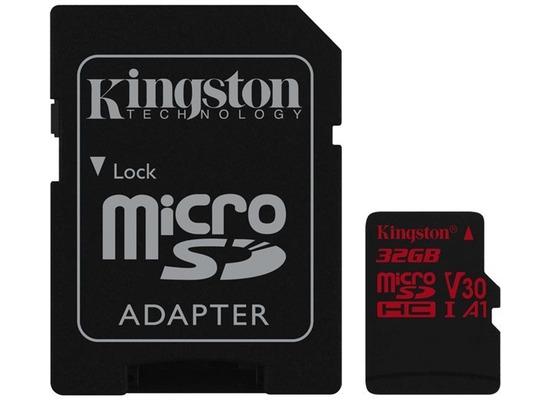 Kingston microSDHC 100R/70W U3 UHS-I V30 A1 Card + SD Adapter,32GB