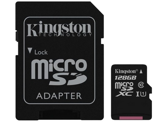 Kingston microSDXC Class 10 UHS-I Card + SD Adapter, 128GB