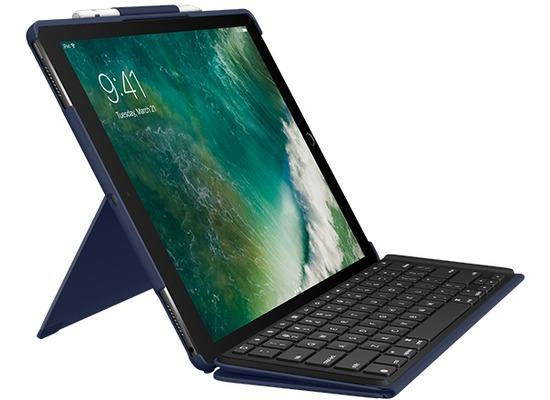 "Logitech® SLIM COMBO - abnehmb. Tastatur + SmartConnector - für iPad Pro 12.9\"" (1./2. Gen.) - blue - (DE)"