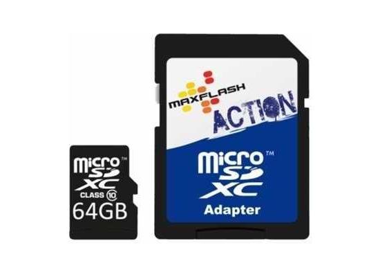 Maxflash MicroSDXC Class 10 Speicherkarte 64GB Action FullHD inkl. Adapter
