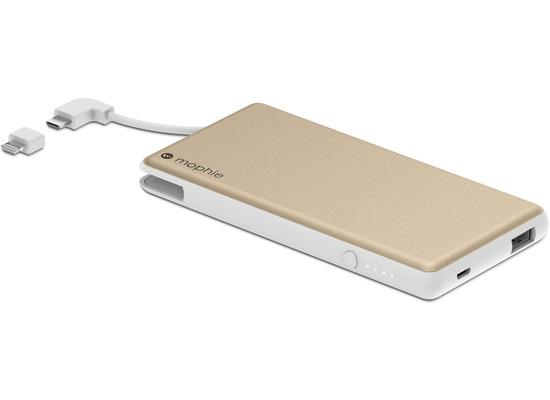 Mophie Powerstation Plus, gold - Externe Schnellade-Batterie mit Lightning und Micro-USB (6000 mAh)