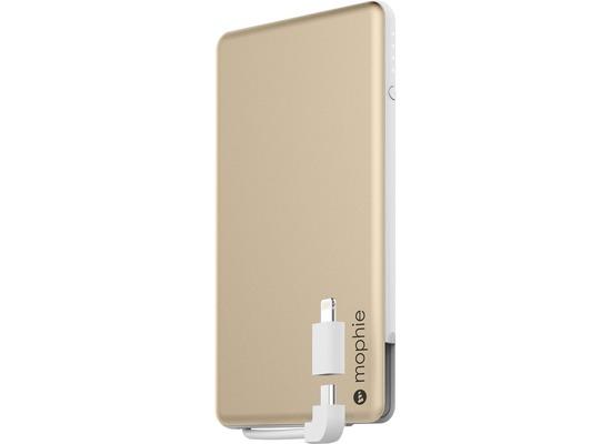 Mophie Powerstation Plus mini, gold - Externe Schnellade-Batterie mit Lightning und Micro-USB Kabel (4000mAh)