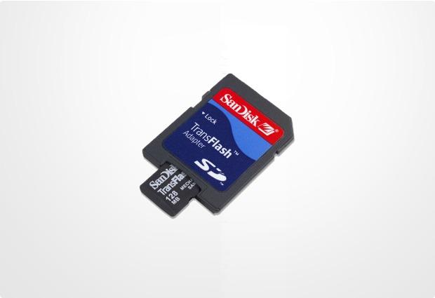Motorola micro-SD Card (TransFlash), 128 MB mit SD Adapter
