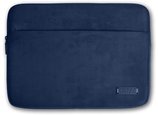 PORT Designs Milano Sleeve - Microfaser- / Neoprenhülle mit Zubehörfach für 11/12 Zoll Notebooks, dunkelblau