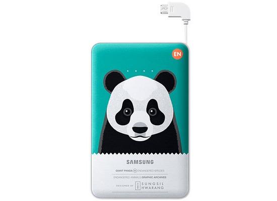 Samsung externer Akkupack 11.300 mAh 2A Micro-USB-Kabel/USB-Port, green, Panda