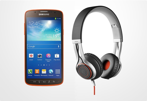 Samsung Galaxy S4 Active, orange (Telekom) + Jabra Stereo Headset REVO, schwarz